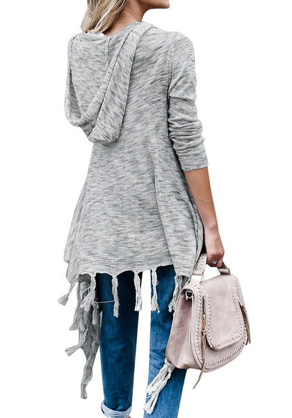 Back view of woman in grey long sleeves knitted open front tassel cardigan