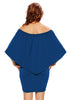 Back view of woman wearing blue off-shoulder layered mini dress