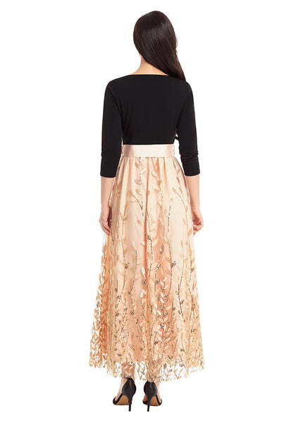 Back view of woman wearing champagne leaf pattern sequins bowknot maxi dress