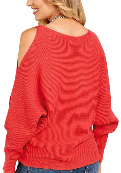 Back view of woman wearing red cutout slit sweater