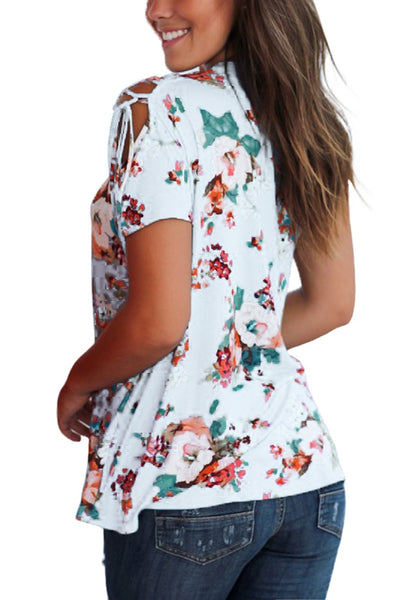 Back view of woman wearing white floral lace-up short sleeves blouse