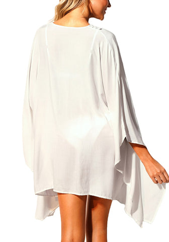 White Lace-Up Batwing Sleeves Beach Cover-Up