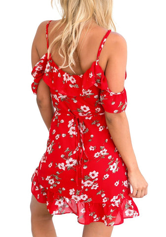 Red Floral Ruffled Cold-Shoulder Wrap Dress