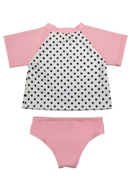 Back view of baby pink dolphin-print polka dot baby rash guard set's 3D image