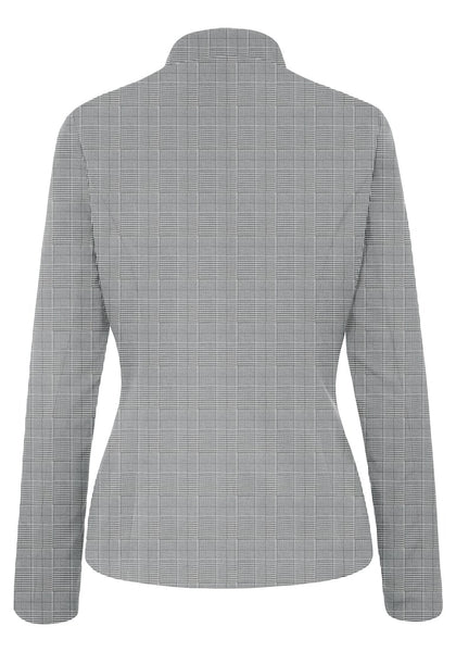 Back view of grey plaid stand collar open-front blazer's image