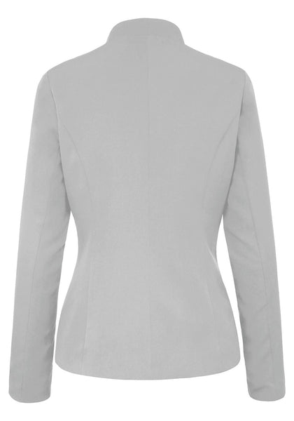 Back view of light grey stand collar open-front blazer