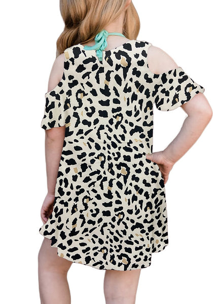 Back view of little model wearing off-white leopard cold shoulder ruffle sleeves girl tunic dress