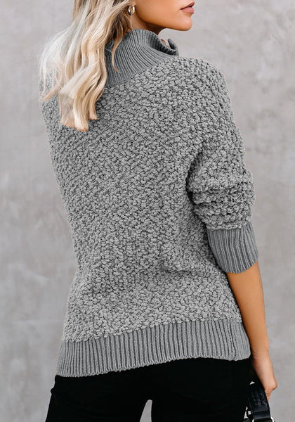 Back view of model in grey half-zip turtleneck popcorn fuzzy fleece sweater