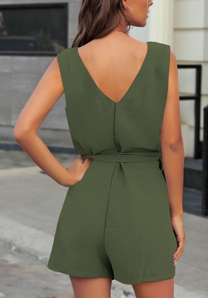 Back view of model wearing army green V-neck sleeveless belted button-up romper