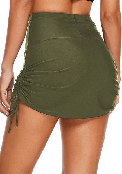 Back view of model wearing army green side-tie high-waist skirtini bottom