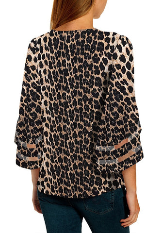 Black 3/4 Bell Mesh Panel Sleeves V-Neckline Leopard-Print Loose Top