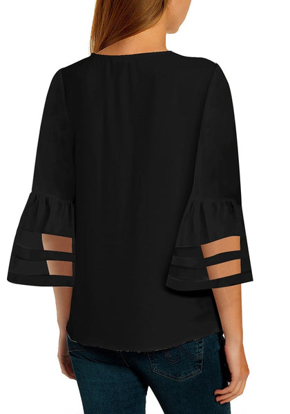 Back view of model wearing black V-neckline trumpet mesh panel sleeves top