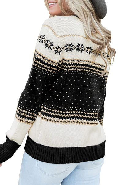 Back view of model wearing black crew neck snowflake colorblock knit sweater