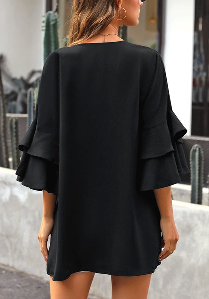 Back view of model wearing black layered trumpet sleeves open-front plain kimono