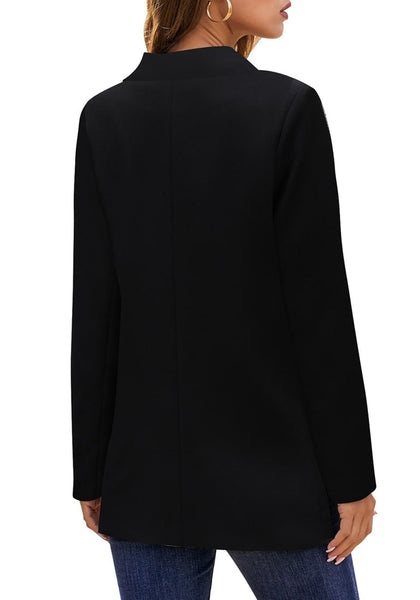 Back view of model wearing black notch lapel gold button plain blazer