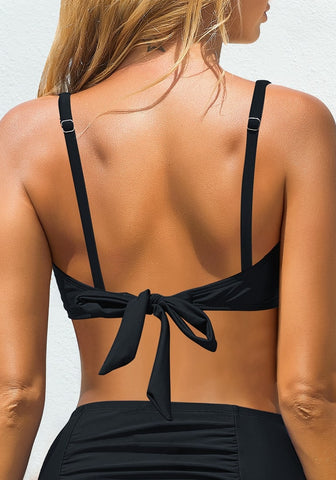 Black Surplice Neckline Ruched Triangle Tie-Back Swim Bra