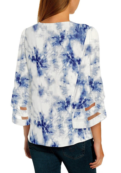 Back view of model wearing blue 3-4 bell mesh panel sleeves V-neck tie-dye top