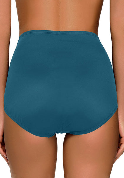 Back view of model wearing blue green high waist ruched swim bottom