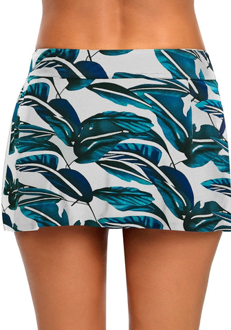 Blue Zipper-Pocket Waistband Leaves-Print Skirted Bikini Bottom