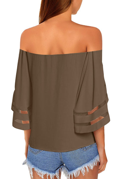 Back view of model wearing brown 3-4 bell mesh panel sleeves tie-front off-shoulder top