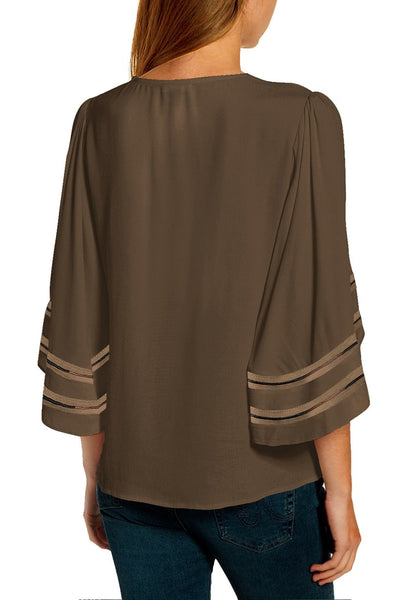Back view of model wearing brown 3-4 ribbon mesh panel sleeves V-neckline loose top