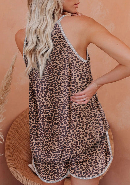 Back view of model wearing brown high-neck cami leopard-print shorts sleepwear set
