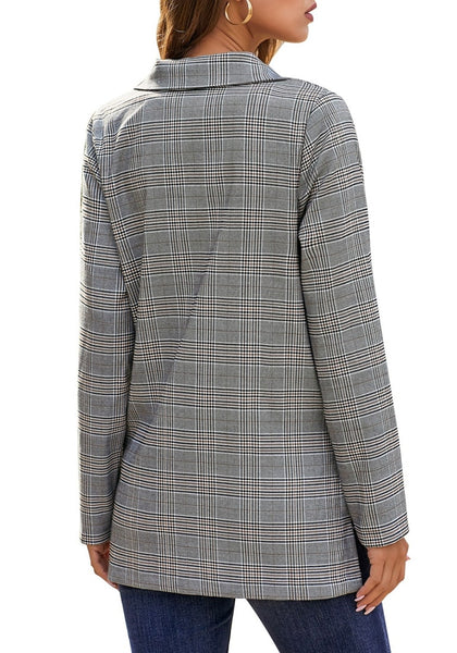 Back view of model wearing brown notch lapel gold button plaid blazer