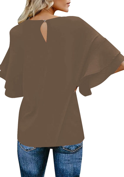Back view of model wearing brown trumpet sleeves keyhole-back blouse