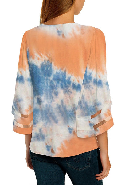 Back view of model wearing coral & blue 3-4 bell mesh panel sleeves V-neck tie-dye top