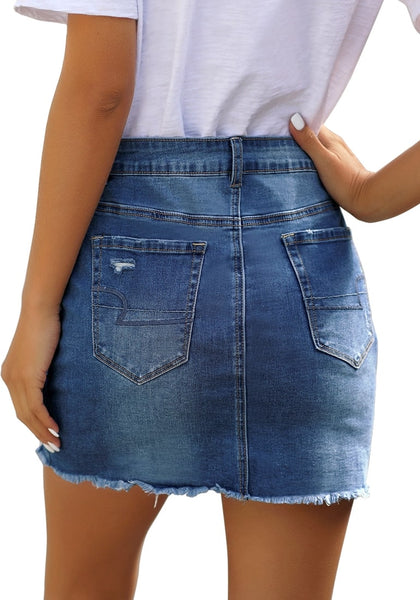 Side view of model wearing dark blue distressed frayed hem denim mini skirt