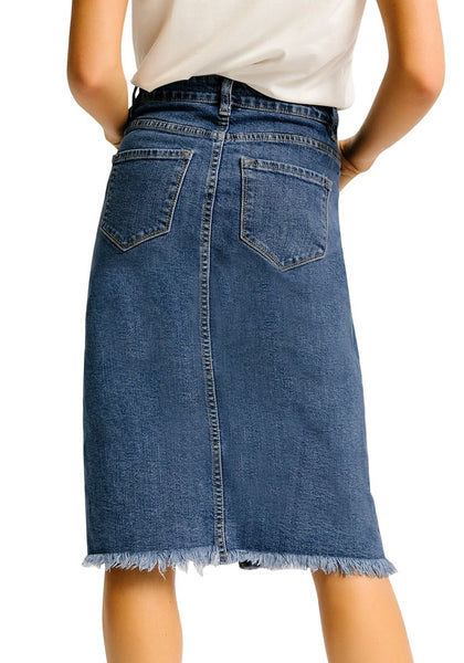 Back view of model wearing dark blue frayed hem button-down midi denim skirt