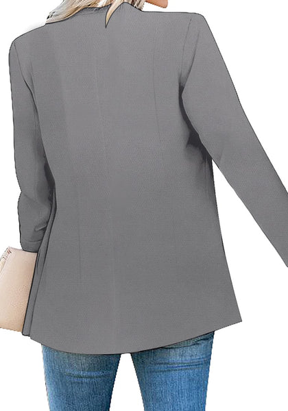 Back view of model wearing grey lapel front-button side-pockets blazer