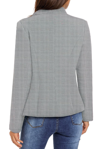 Back view of model wearing grey plaid stand collar open-front blazer