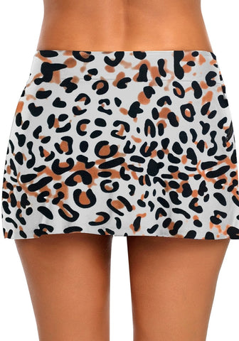 Leopard Print Zipper-Pocket Waistband Skirted Bikini Bottom
