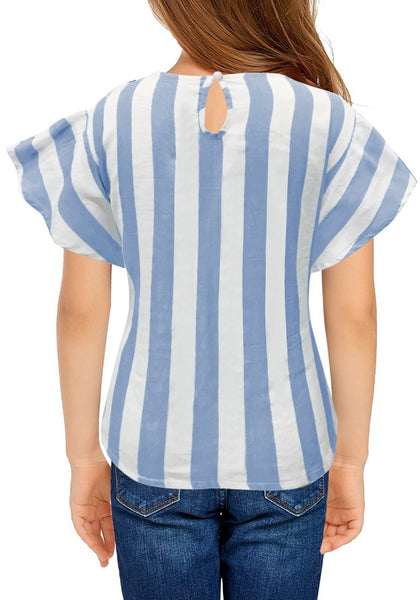Back view of model wearing light blue flare short sleeves keyhole-back striped little girl top