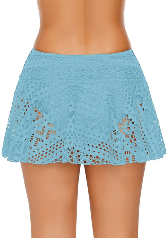 Light Blue Lace Crochet Swim Skirt