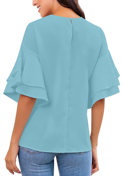 Back view of model wearing light blue trumpet sleeves keyhole-back blouse