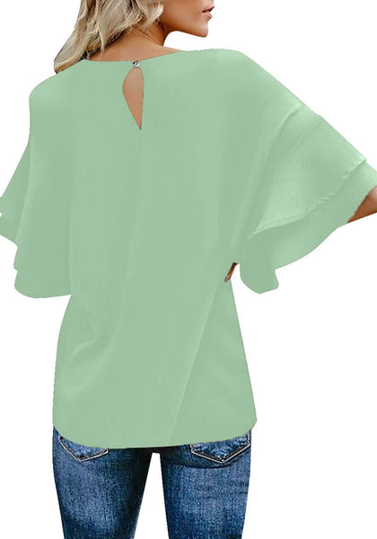 Back view of model wearing mint green trumpet sleeves keyhole-back blouse