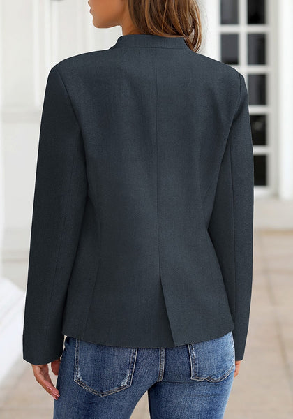 Back view of model wearing navy V-neckline single button blazer
