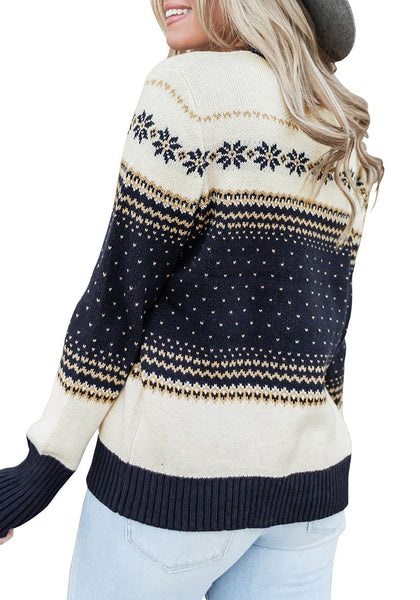 Back view of model wearing navy crew neck snowflake colorblock knit sweater