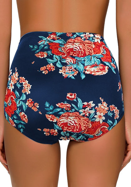 Back view of model wearing navy floral-print high waist ruched swim bottom