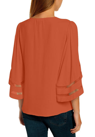 Orange 3/4 Bell Mesh Panel Sleeves V-Neckline Loose Top