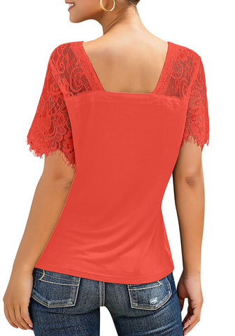 Orange Crochet Lace Short Sleeves V-Neckline Top