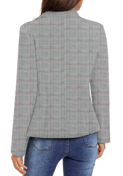 Back view of model wearing red plaid stand collar open-front blazer