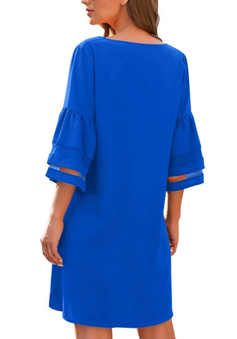 Royal Blue 3/4 Bell Mesh Sleeves V-Neck Mini Shift Dress
