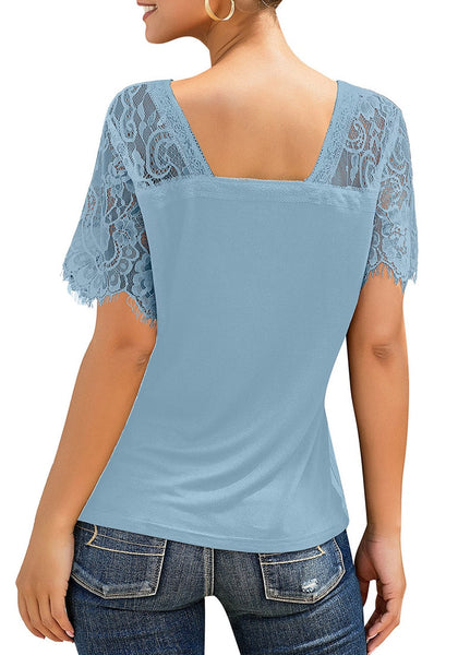 Back view of model wearing sky blue crochet lace short sleeves striped V-neckline top