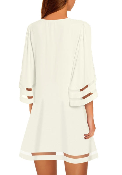 Back view of model wearing white 34 bell sleeves mesh panel crew-neckline loose dress