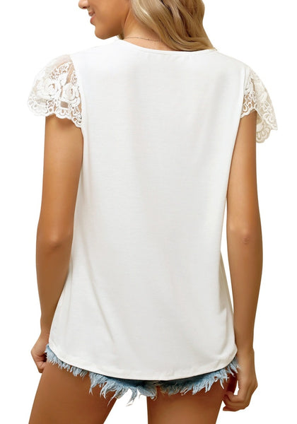 Angled shot of model wearing white crochet lace cap sleeves V-neckline button top
