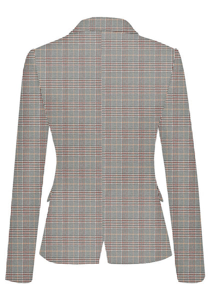 Back view of pink plaid back-slit notched lapel blazer's image