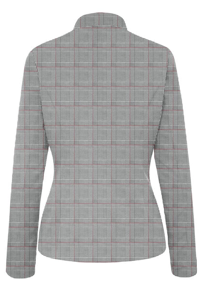 Back view of red plaid stand collar open-front blazer's image